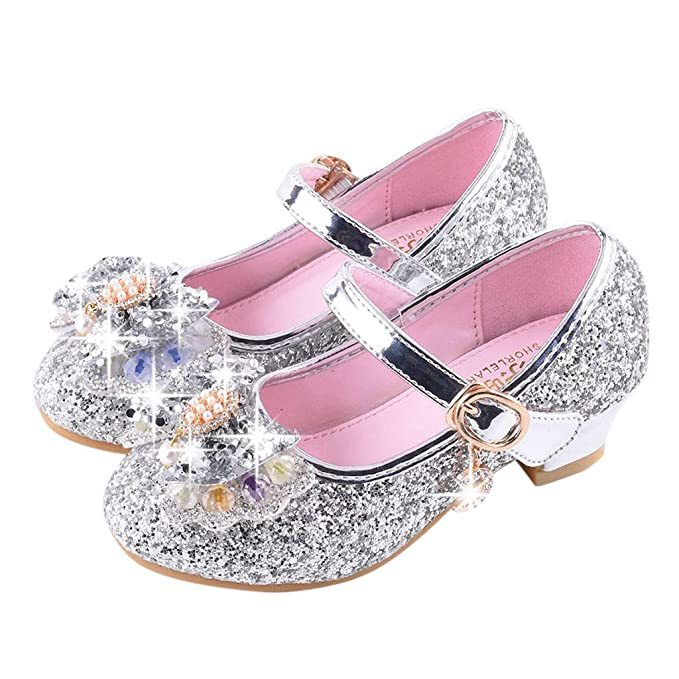 3ee50ecf Berimaterry Zapatos de Lentejuelas de Niña Zapatos de Tacón Alto de Princesa  Fiesta de Tango Latino
