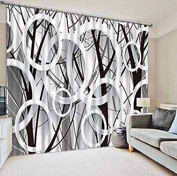 Attrayant Wapel Cool Noir Blanc Impression Numérique 3D Rideaux Du0027Obscurcissement Pour  Salon Draps Chambre Rideaux