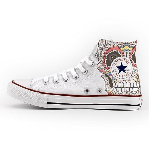 Converse Personalizados e impresos - zapatos de artesanía new mexican skull: Amazon.es: Zapatos y complementos
