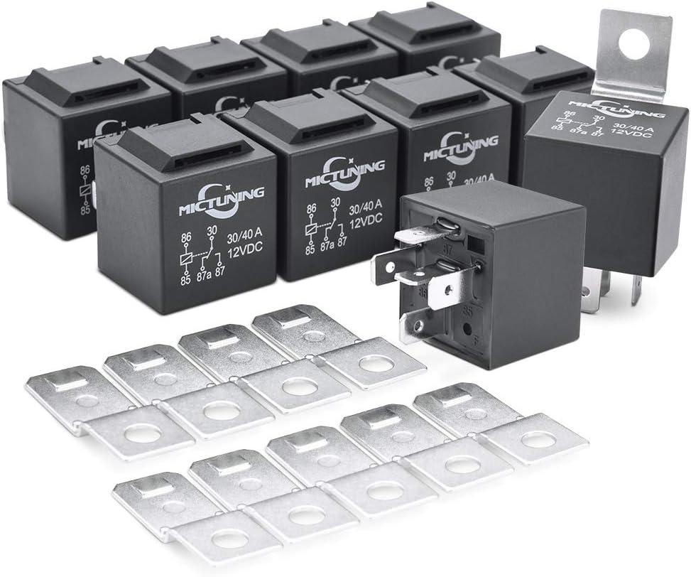 MICTUNING DC 12V 30 y 40 Amp 5 pin SPDT Relay de Reemplazo de Barra de Luz LED(Paquete de 10)