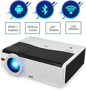 WiFi Proyector HD 1080P Soportado, 5000 Lúmenes LED Cine en Casa Proyector con Bluetooth, Altavoz de Alta, con TV Stick, teléfono Inteligente, PS4, HDMI, USB, VGA para Entretenimiento al Aire libr: Amazon.es: