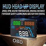 Braceus 5.5 Inch Multi-function Auto Light Sensor Car Windshield HUD Head Up LCD Display