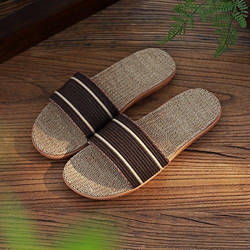 DogHaccd zapatillas femeninas Brown3 parejas palabra zapatillas Zapatillas con antideslizante verano la gruesa del Lencería hogar verano fresco permanezca interior macho rrwfB