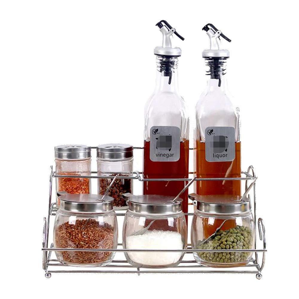 Douhuayu Kitchen Supplies Seasoning Seasoning Glass Seasoning Jars Condiment Bottle Storage Box Combination (Color : Clear)