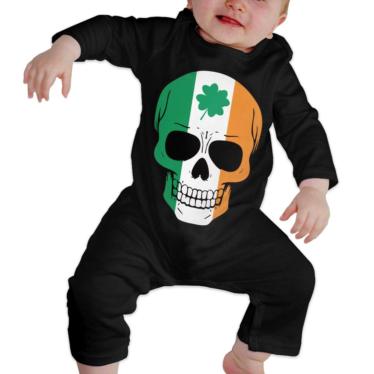 Mri-le1 Baby Girls Long Sleeved Coveralls Irish Skull St Patricks Day Baby Clothes