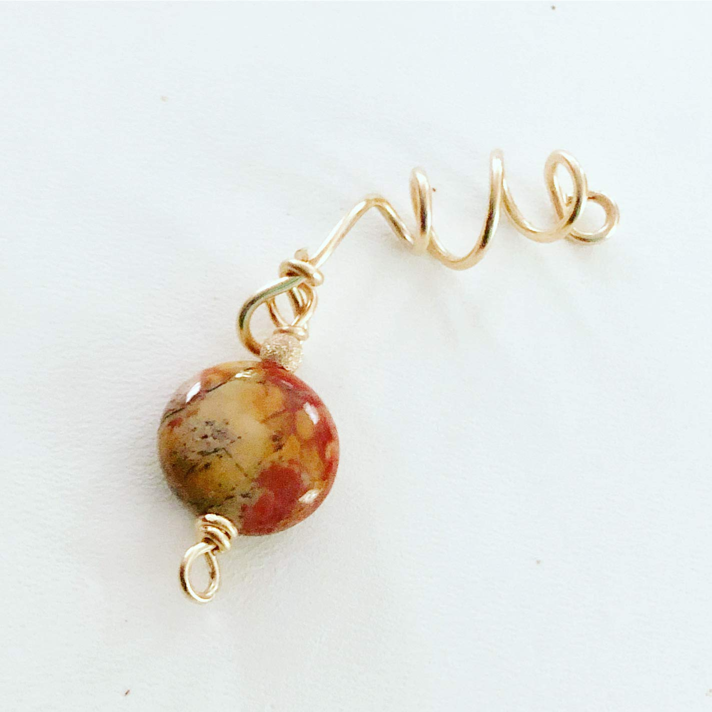 Loc Jewelry Birds Eye Rhyolite 14K Gold Filled Adjustable Dread Bead Jewel Charm Dreadlock Accessories Gemstone Schmuck