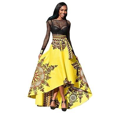 3b520f78ee48a LUCKYCAT Sexy Femmes Style Africain été Boho Robe Jupe Mode Couleur  Populaire en Option (Jaune