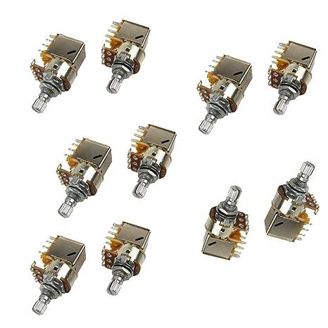 IKN 10pcs A250K Push potenciómetro corto L15mm eje potes para guitarra eléctrica bajo reemplazo