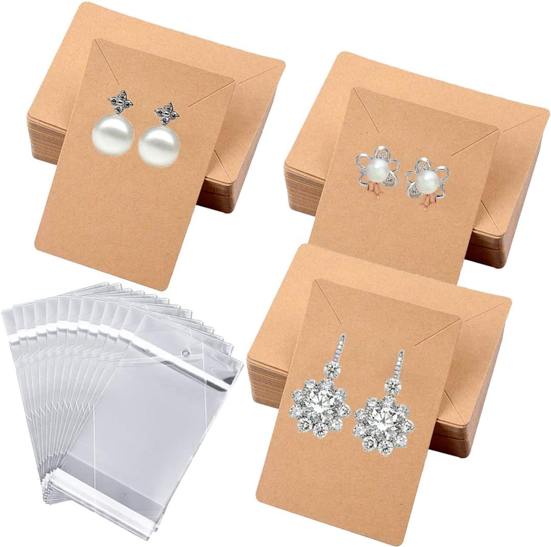 130PCS Earring Cards Jewelry Card Necklace Display Cards with 130pcs Self-Seal Bags for Earring Display Hanging Earrings Bulk Earring Cards 3.5 x 2.4 Inches,Brown