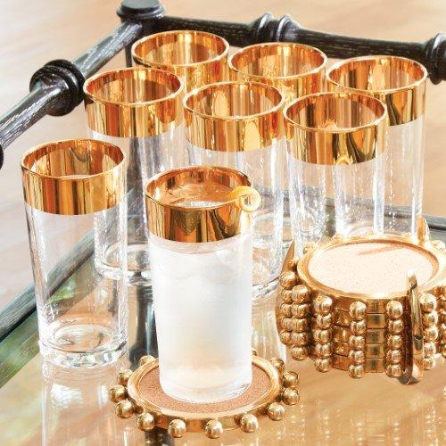 Luxe Gold Rim Bar Caddy Glasses Ice Bucket   Set 10 Entertaining Retro Serving