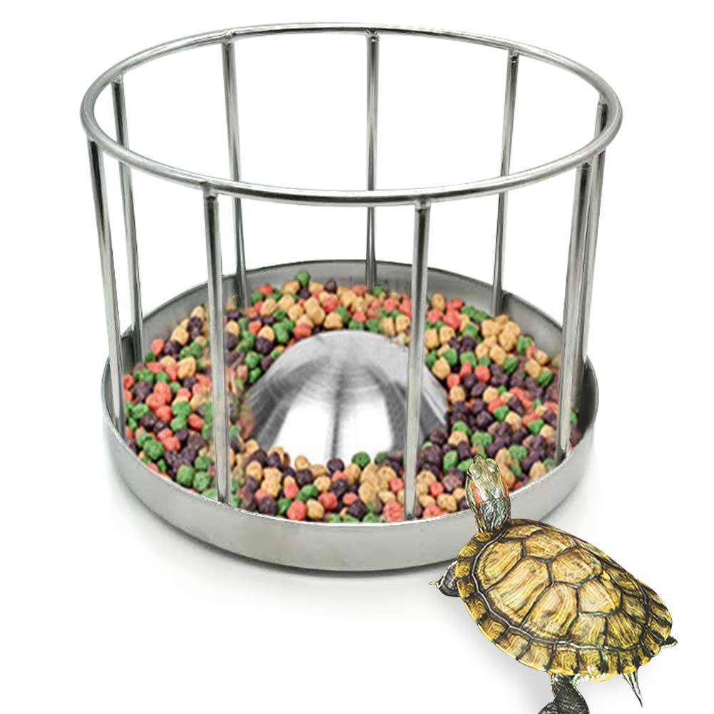 PLAFUETO Stainless Steel Reptile Food and Water Bowl Turtle Bowl Food Tray Round Railing Shape Reptile Feeder by PLAFUETO