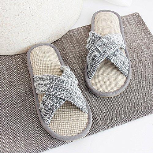 fankou Parejas Algodón Zapatillas Femenino Verano Estancia Cubierta Antideslizante con Preciosas Sábanas Gruesas Zapatillas Home Zapatos Impermeables,30/31(21cm-21.5cm), Gris