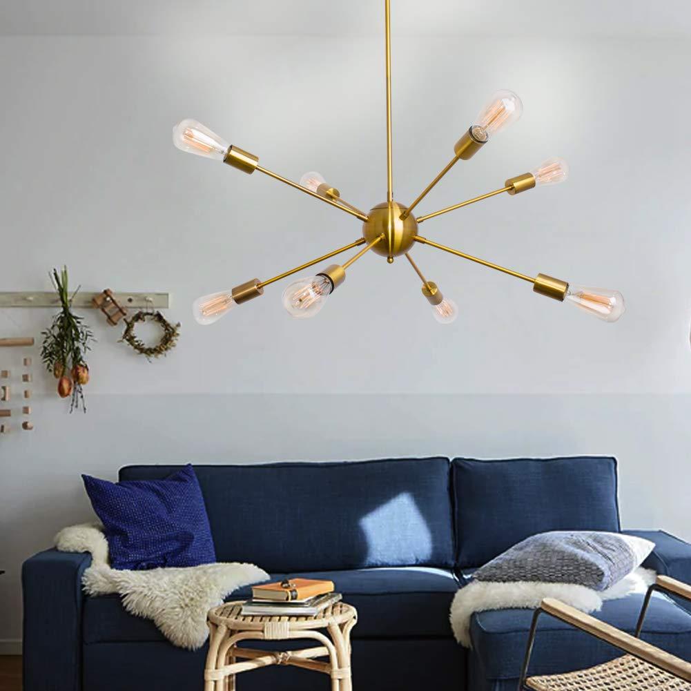 Sputnik Chandelier 8 Lights Modern Gold Ceiling Light Fixture Industrial Brushed Brass Vintage Pendant Lighting for Dining Room Kitchen Living Room Bedroom by LynPon