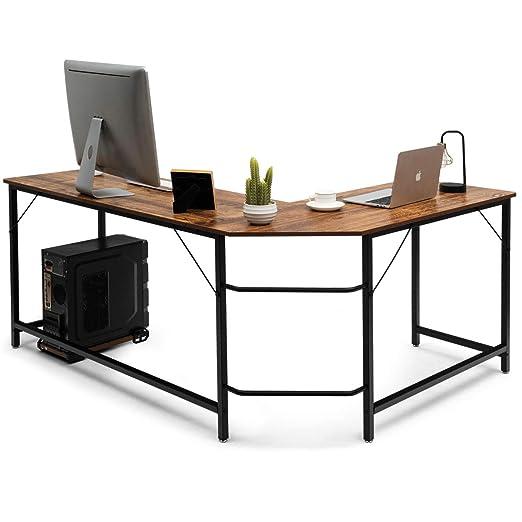 Negro COSTWAY Mesa de Ordenador en Forma de L Escritorio Esquina Estaci/ón de Trabajo para Hogar Oficina Sala de Estudio