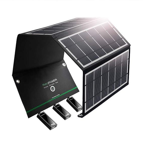 Amazon.com: RAVPower - Cargador solar de 24 W, panel solar ...