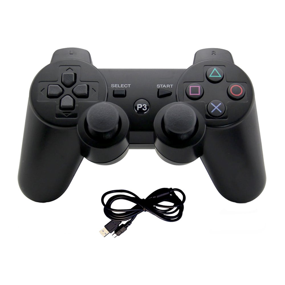 Generic Wireless Gaming Controller Bluetooth Gamepad Game Controller with Dual-Vibration Joysticks Compatible for PS3 by EVORETRO