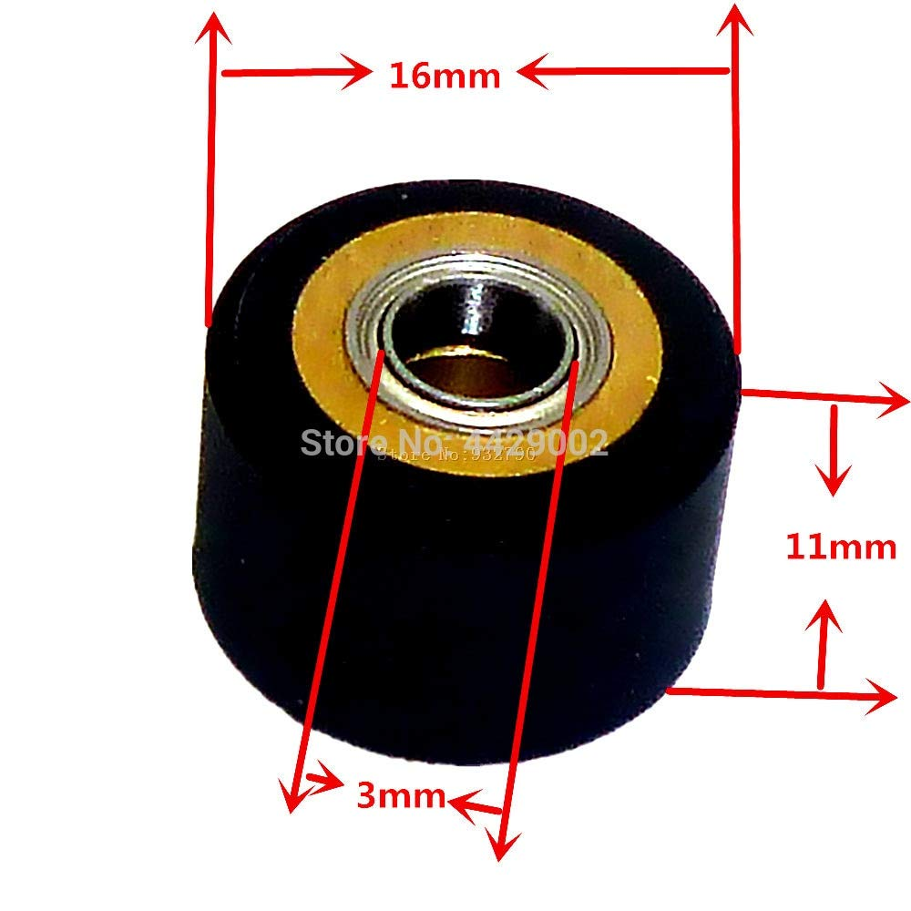 Fevas 1/2/3/4/5/6pcs 3mmx11mmx16mm Copper Core Pinch Roller Vinyl Plotter Cutter Cutting Engraving Machine Printer Paper Feed Wheel - (Color: 5pcs) by Fevas (Image #2)