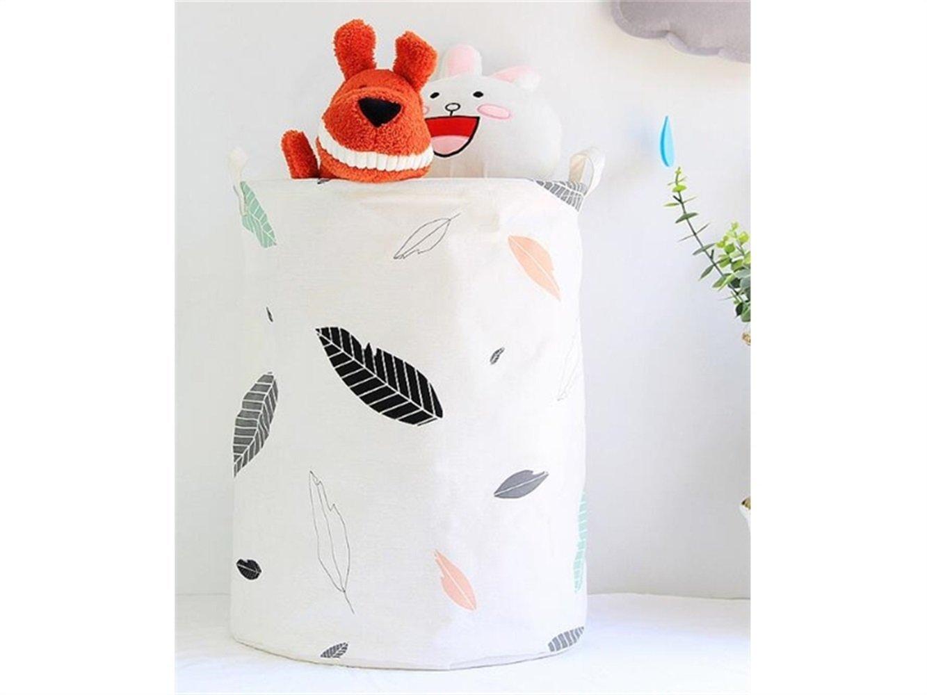 Gelaiken Lightweight Leaves Pattern Storage Bucket Cotton Bucket Sundries Storage Bucket (White)