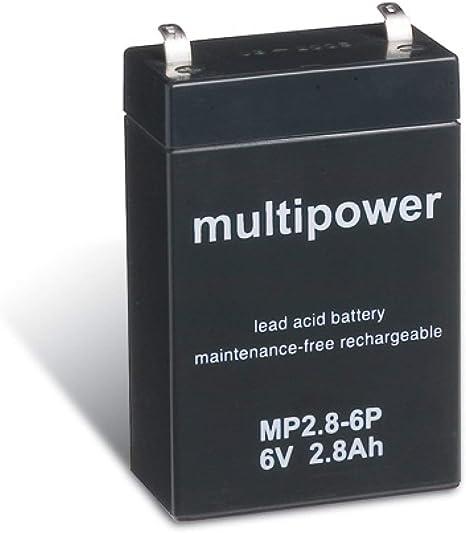 multipower Powery Bleiakku MP2,8-6P 6V 2,8Ah//17Wh Lead-Acid Schwarz
