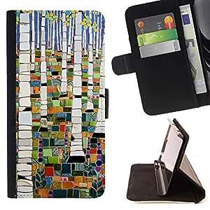 For Sony Xperia Style T3 Case , Pintura abstracta del bosque de abedul- la tarjeta de Crédito Slots PU Funda de cuero Monedero caso cubierta de piel