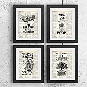 Bathroom quotes and sayings vintage book art for Bathroom paintings amazon