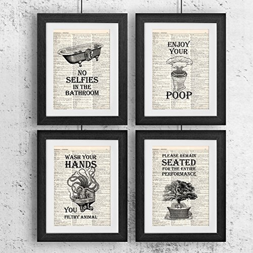 Bathroom Quotes and Sayings Vintage Book Art Prints | Set of Four Photos 8x10 Unframed | Great Gift for Bathroom - Bathroom Print Art