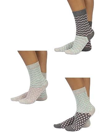 a7decf3b8f251 Trois Paires de Chaussettes Femme en Coton | Socquettes avec Fantaisie à  Pois et Rayures | Chaussette avec Double Couleur et Motif | Gris | Taille  Unique ...