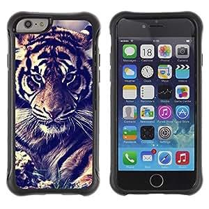 """único patrón Impacto Shock-Absorción y Anti-Arañazos Funda Carcasa Case Bumper Para Apple iPhone 6+ Plus(5.5 inches) , ( Tiger Vignette Filtrar Piel Rugido del gato grande"""" )"""
