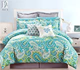 9 Piece Modern Bedding Blue, Grey and Green Paisley Twin Comforter Set - Bed In A Bag with Sheets, Pillow case, Euro Sham and accent pillows