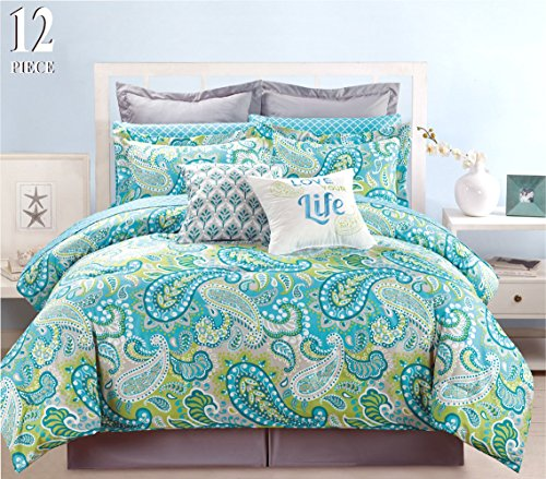 12 Piece Modern Bedding Turquoise Blue, Grey and Green Paisley QUEEN Comforter Set - Bed In A Bag with Sheets, Pillow cases, Euro Shams and accent pillows (Linen Bed Paisley)