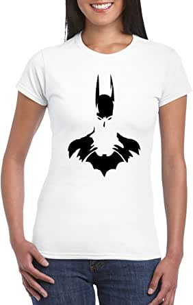 White Female Gildan Short Sleeve T-Shirt - Batman Bust design