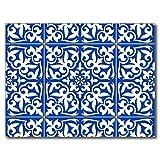 HardyCocker Moroccan Tile Cobalt Blue and White Rubber Non-Slip Outdoor Indoor Doormat Bath Mat 16