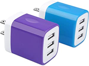 USB Charger Plug, Hootek 2Pack 3.1A 3-Multi Port USB Wall Charger Brick Adapter Charging Block Cube Charger Box Compatible iPhone 11 Pro/XS Max/X/8/7/6S Plus, iPad, Samsung Galaxy S20 FE 5G S10e S9 S8