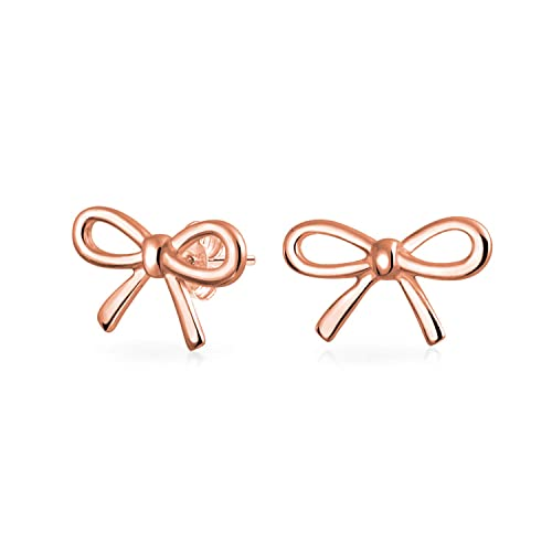 64838915e Amazon.com: Thin Dainty Tiny Ribbon Bow Birthday Present Knot Stud Petite Earrings  For Women Rose Gold Plated 925 Sterling Silver: Jewelry