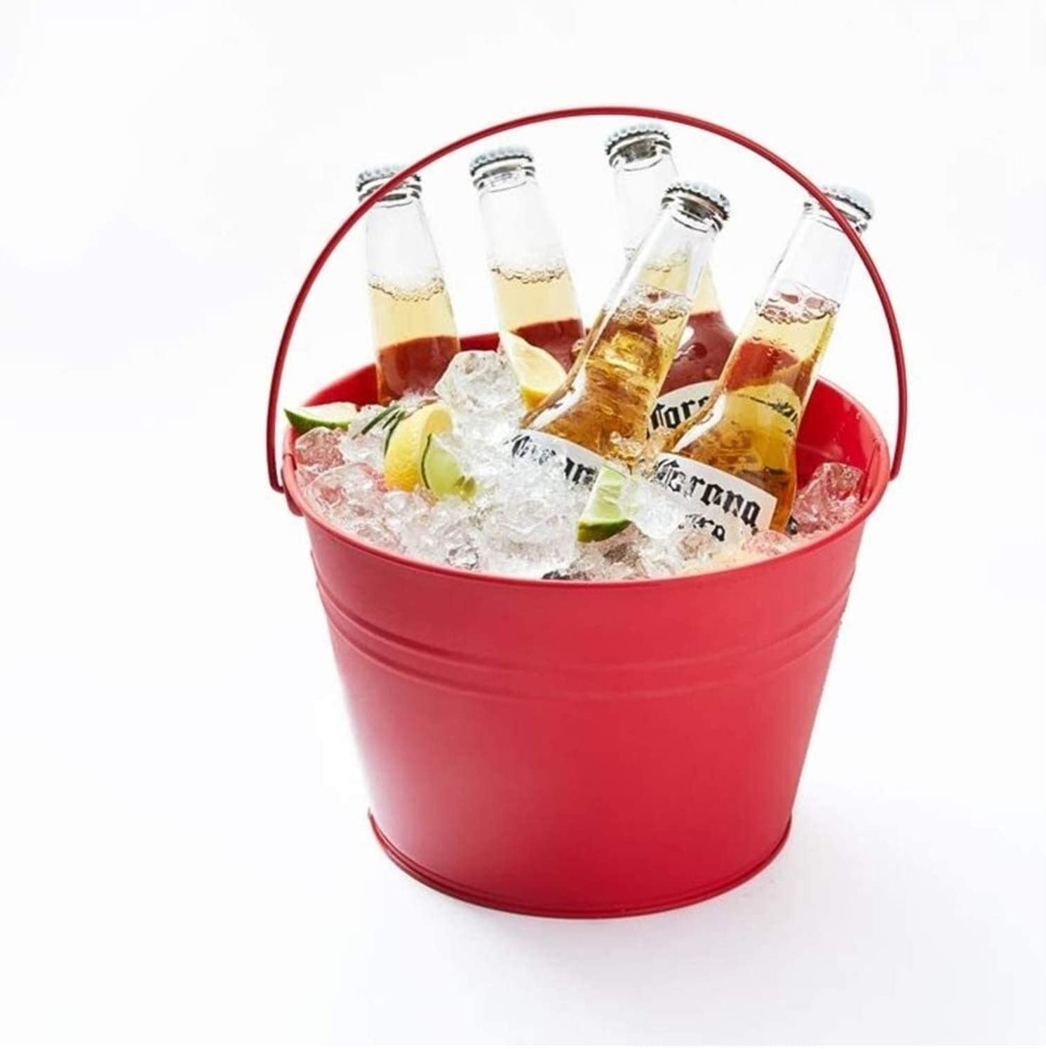 Portable Wine Bucket Party Tub Metal Ice Bucket, Insulated Ice Beverage Tub With Handle, Champagne Ice Cubes Container Wine Chiller For Bar-red 17x17x25cm(7x7x10inch) 1226