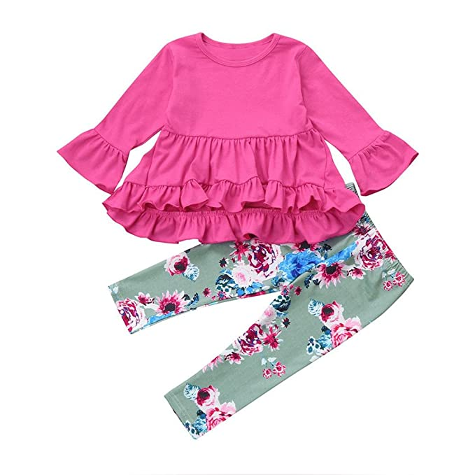 Muium Infant Baby Girls Rainbow Horse T-Shirt Top Dress+Long Pants Set Outfits for 1-5 Years Old