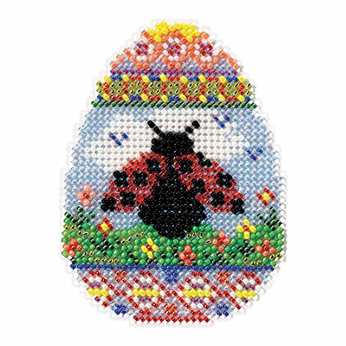 Ladybug Egg Beaded Counted Cross Stitch Ornament Kit Mill Hill 2016 Spring Bouquet MH181615