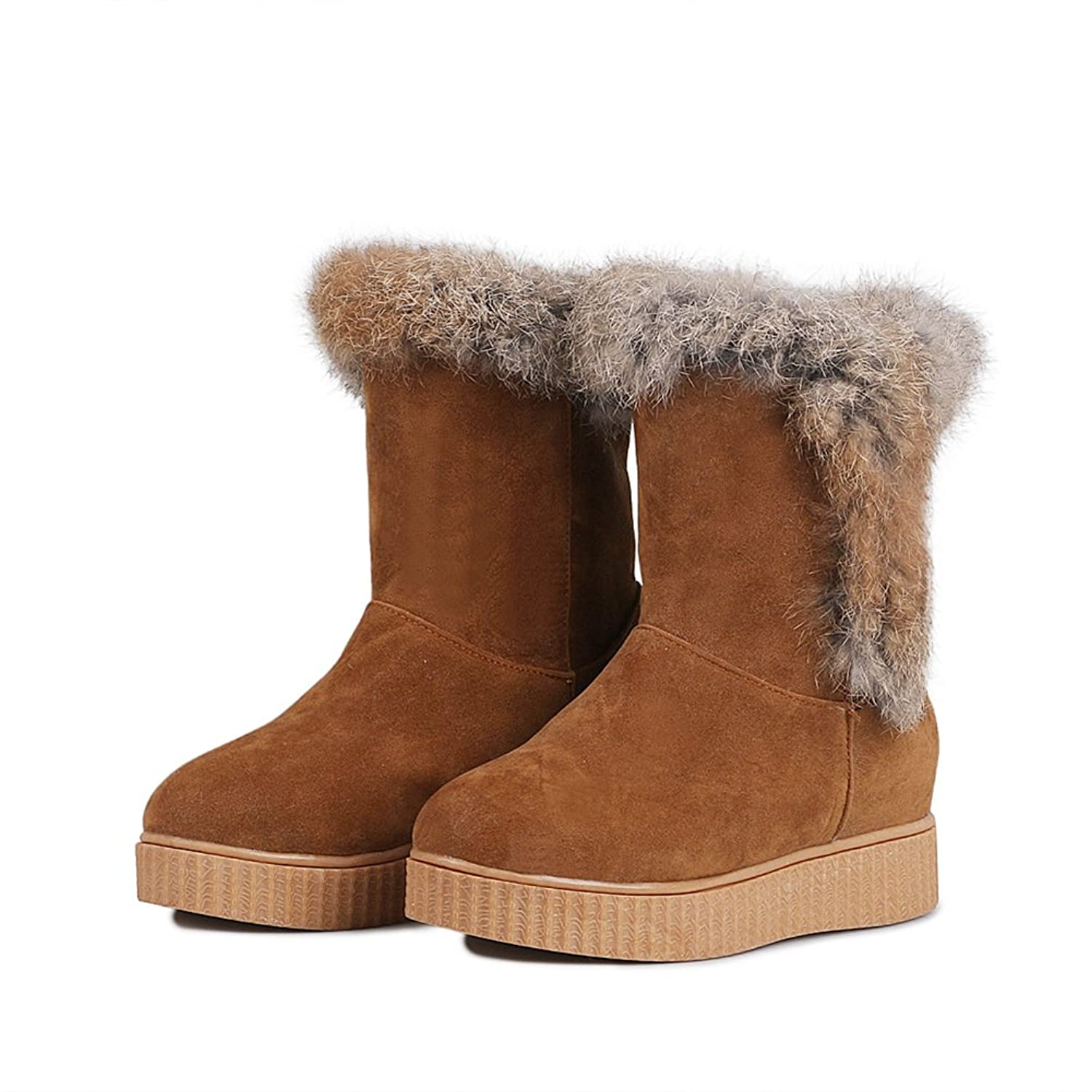 Manyuea Women Round Toe Pull on Flat Shoes Warm Fur Lined Ankle Snow Boot