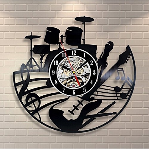 Hot Gift Wall Clock (Shinestore 2018 Hot CD Vinyl Record Wall Clock Modern Design Musical Theme Decorative Black Art Watch Clock)