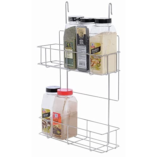 Hanging Spice Rack 2-Tier Commercial Spice Rack Silver Steel – 14 1 4 L x 5 W x 22 1 4 H
