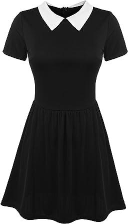 POGT Disfraz de Halloween para Mujer, Disfraz de Addams de Miércoles, Vestido de Escuela para niña - Negro - Medium: Amazon.es: Ropa y accesorios