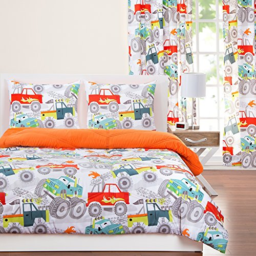 3 Piece Kids Monster Trucks Comforter Full Queen Set, Vibrant Fun All Over Red Blue Black White Four Wheelin Truck Themed Bedding, Reversable Orange, Microfiber