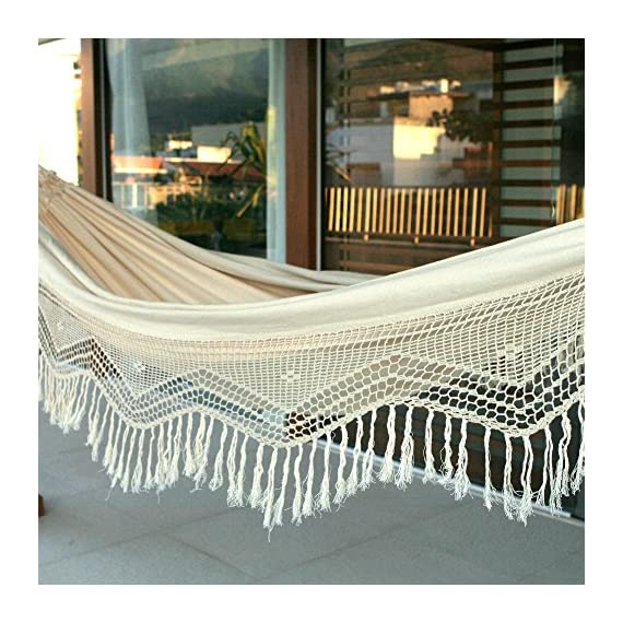 "NOVICA HAM0011 Manaus Majesty Hammock, Beige - Hammock size: 143"" L x 65"" W, Bed size: 90"" L x 65"" W Authentic: an original NOVICA fair trade product in association with National Geographic. Certified: comes with an official NOVICA Story Card certifying quality & authenticity. - patio-furniture, patio, hammocks - 61ql4xqihjL. SS570  -"