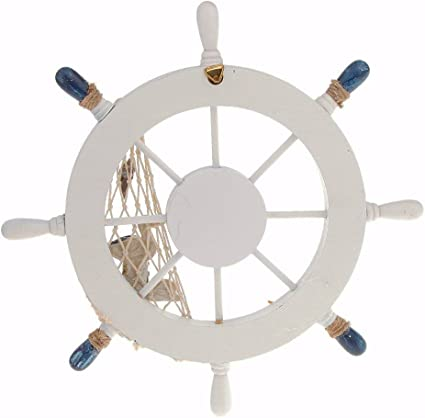 Wall Door Nautical White /& Blue Life Buoy Ring Shell Plaque Wind-bell Decor