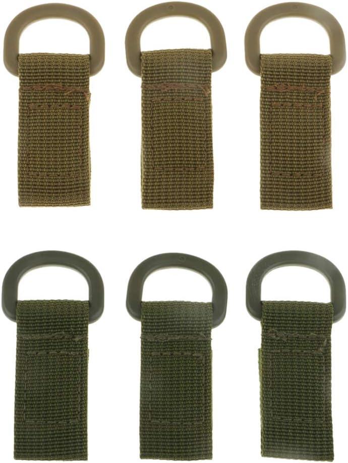 SM SunniMix 6 Pieces Nylon Strap Molle Hanging Belt Buckle for Carabiner Water Bottle Hanger Keys Holder Organizer Backpack D Ring Belt