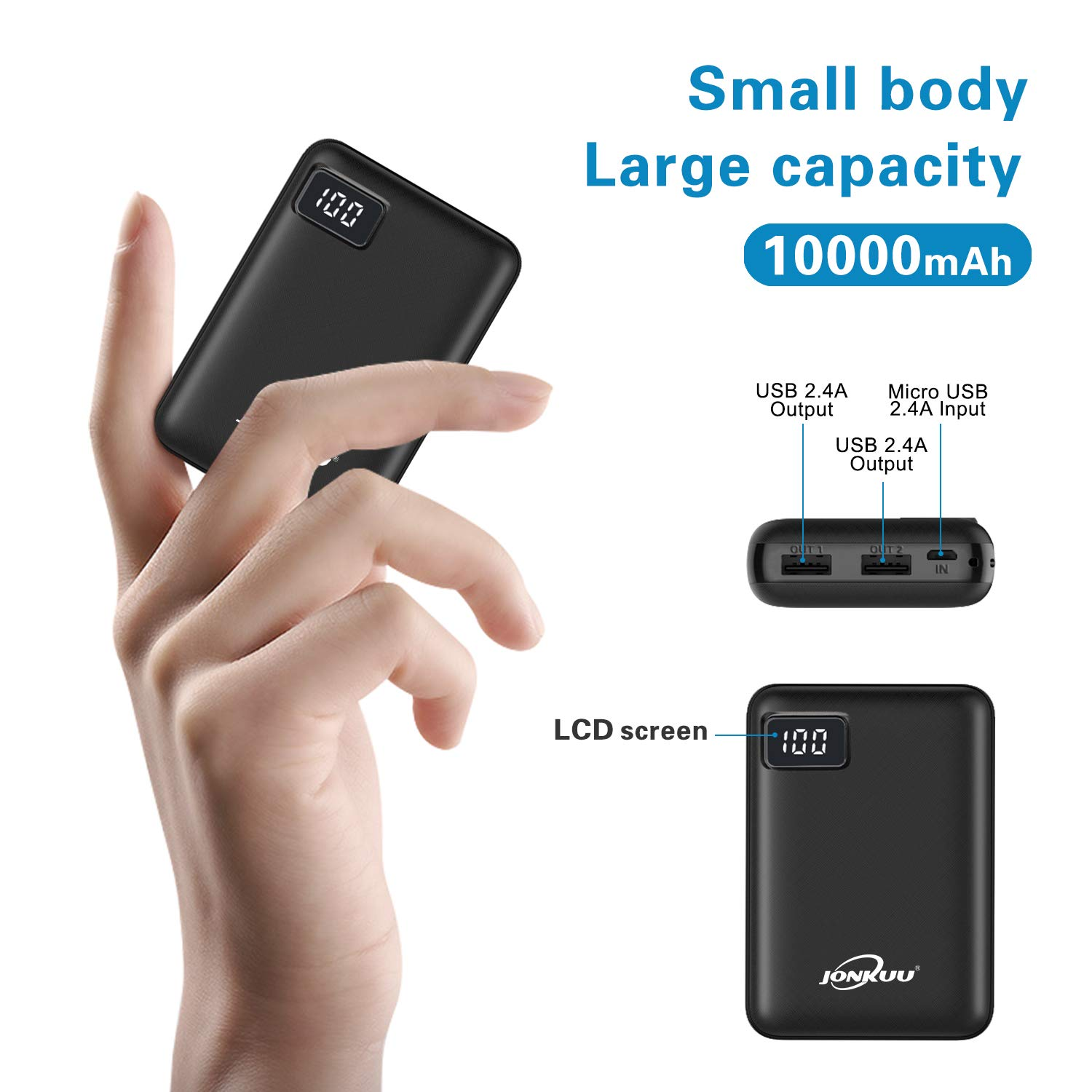Portable Phone Charger 10000mAh Quick Charge 2.4 A Power Bank External Battery Packs Dual Ports with LCD Display Powerpack Compatible for iPhone Huawei iPad Samsung Galaxy Nintendo Switch (Black) by JONKUU