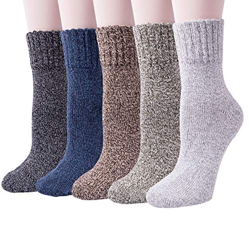 5 Pack Womens Thick Warm Comfort Cotton Casual Wool Winter Socks -