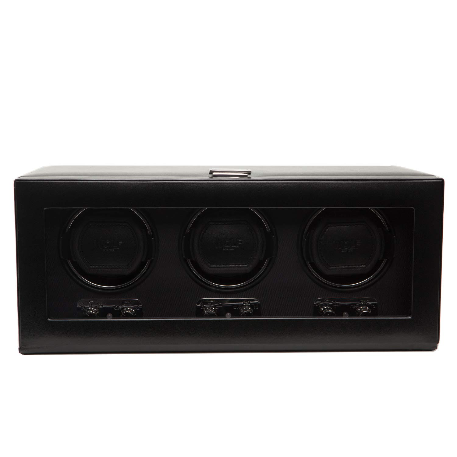WOLF 270202 Heritage Triple Watch Winder with Cover, Black