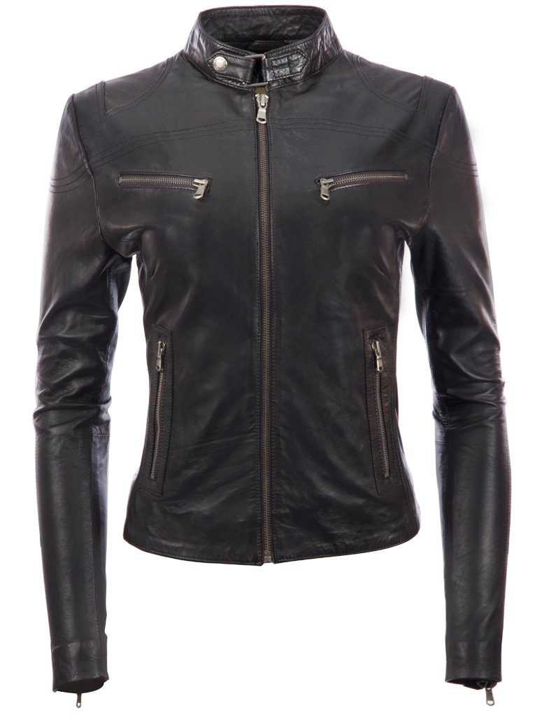 Women's Super Soft Ladies REAL Leather Stylish Fitted BIKER Jacket Black by MDK (X-Large / XL / Chest=98cm)