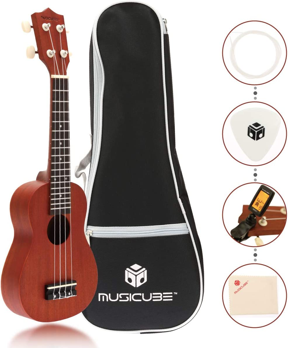 Sapele Pick Gig Bag Better for Adults and Children Age 10 UP Matte Finish MUSICUBE Sapele Wood Soprano Ukulele 21 Inch Acoustic Mini Guitar Musical Instrument with Tuner and Cleaning Cloth